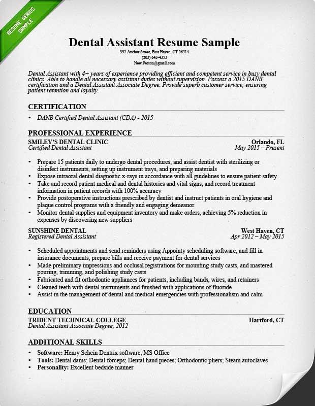 dental assistant resume sample amp tips resume genius