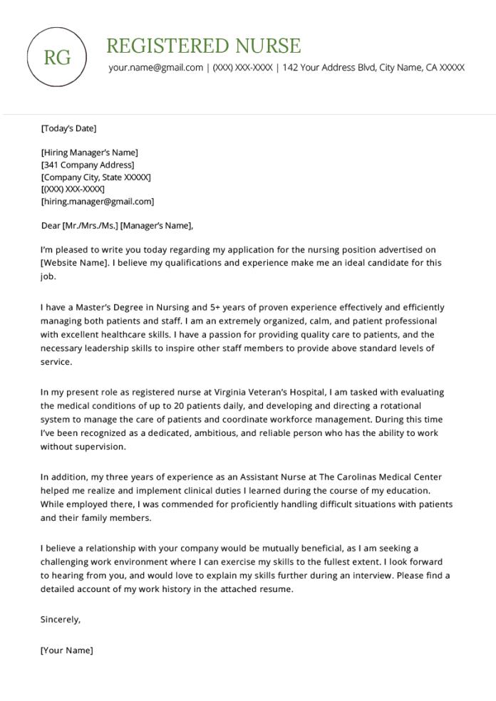 Nursing Cover Letter Example Resume Genius