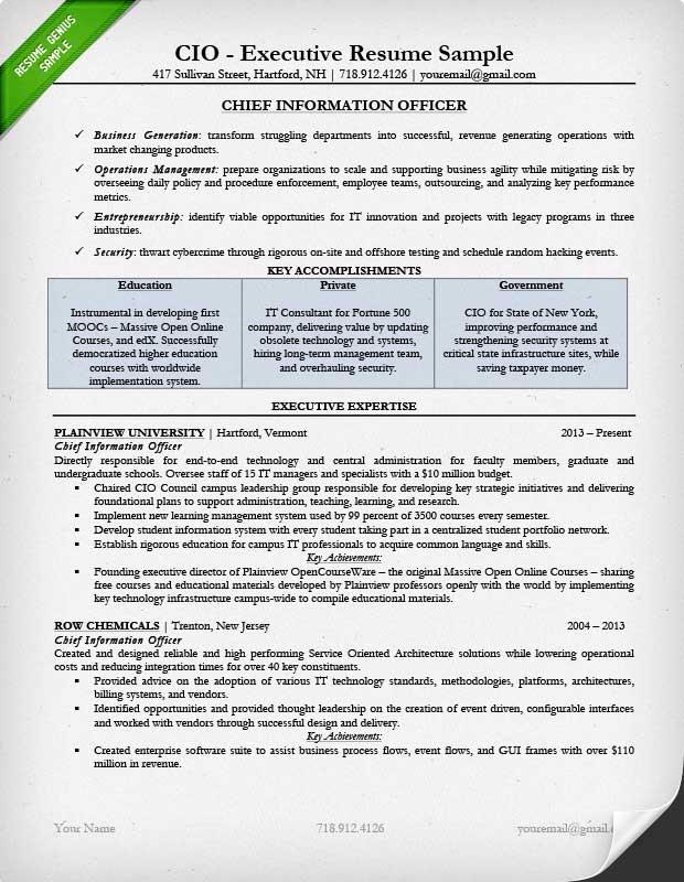 Executive Resume Examples Writing