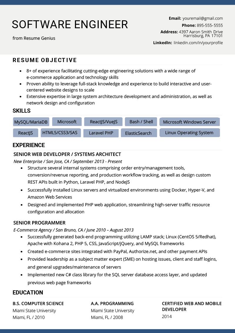 Software Engineer Resume Example Writing Tips Resume Genius