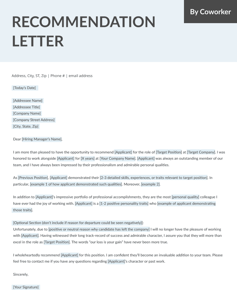 Letter Of Recommendation Samples Templates For Employment Rg