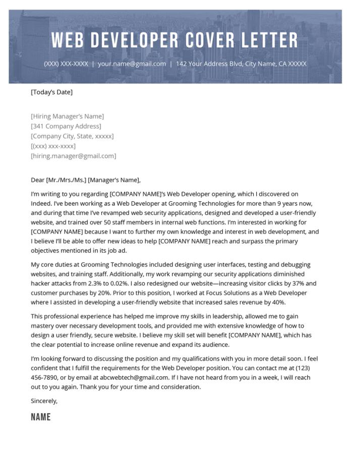Web Developer Cover Letter Sample Resume Genius