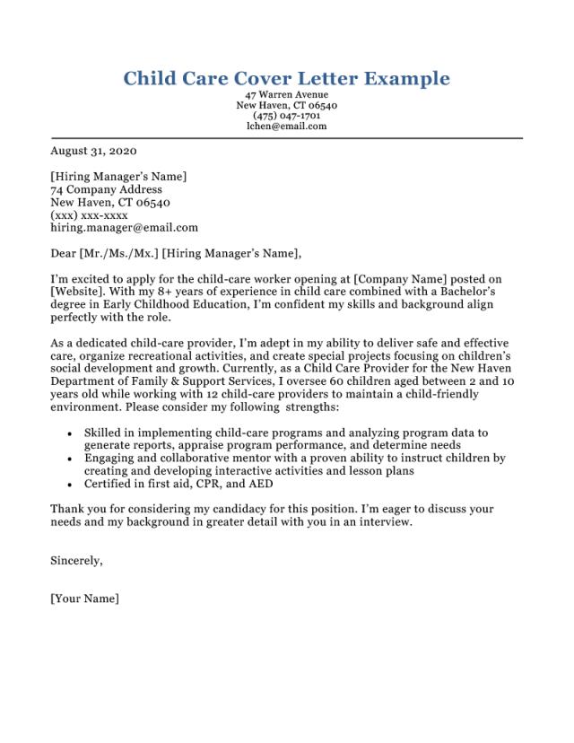 Child Care Cover Letter [Free Example]  Resume Genius