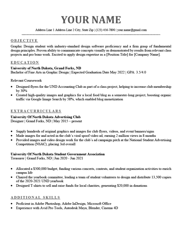 Undergraduate Resume: Examples for Students & How to Write