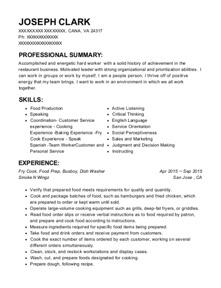 Fry Cook Resume