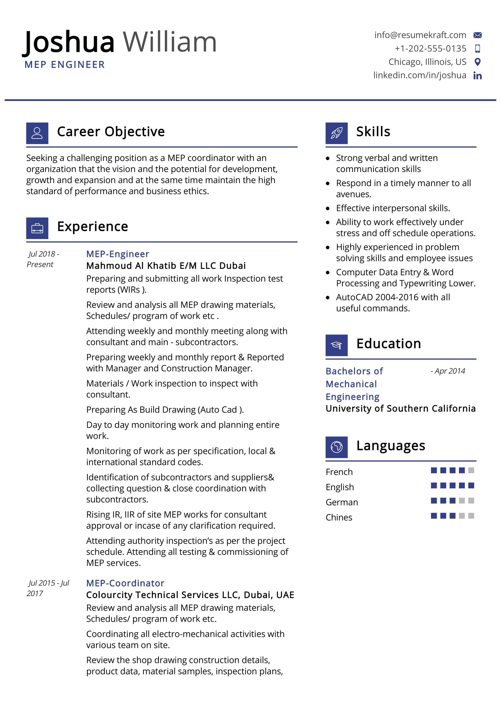 Mep Engineer Resume Sample Resumekraft