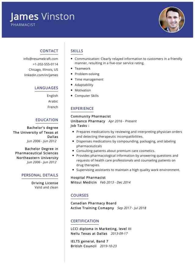 Pharmacist Resume Sample  Writing Tips - ResumeKraft