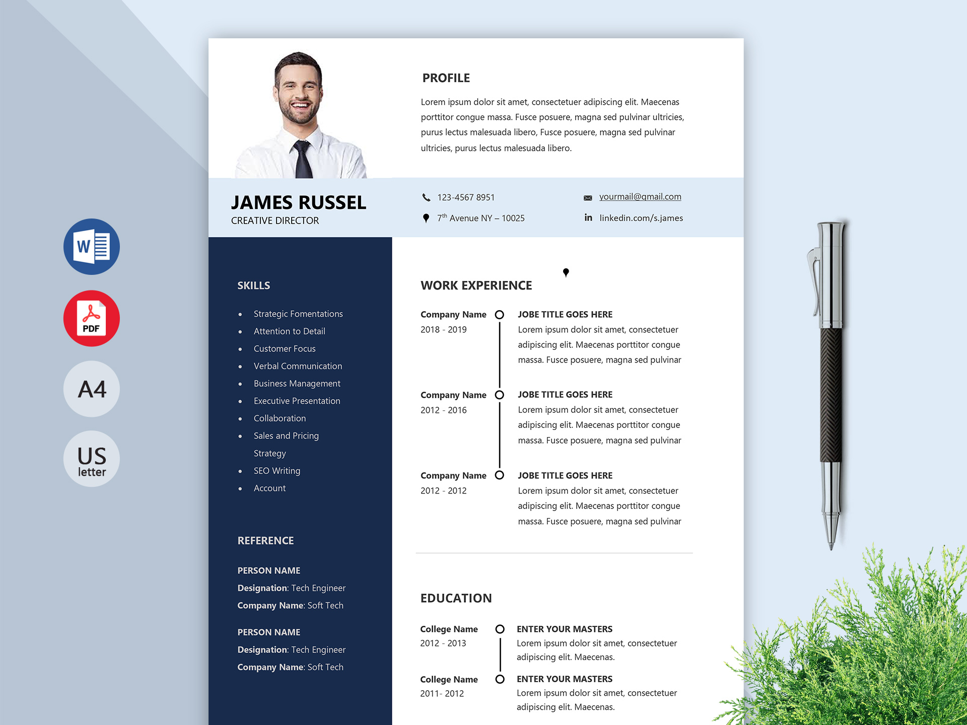 Grand Professional Resume Template Word Doc