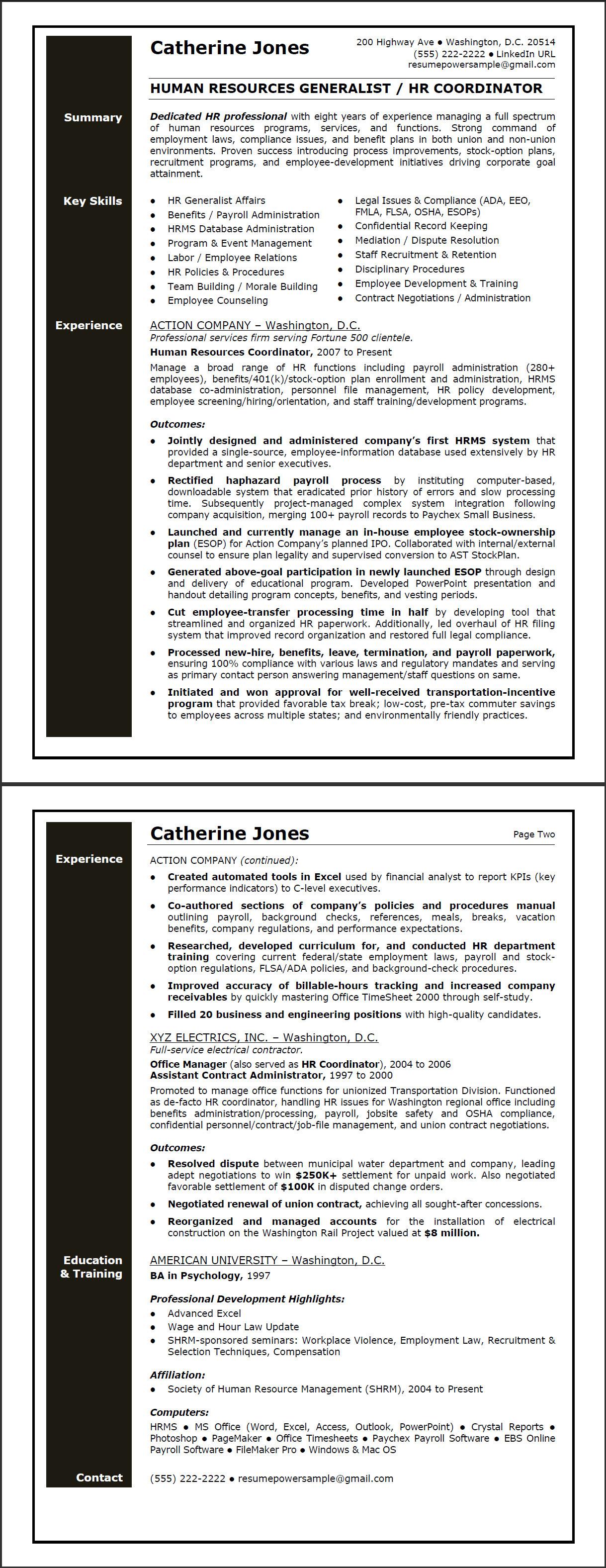 hr generalist sample resume resumepower