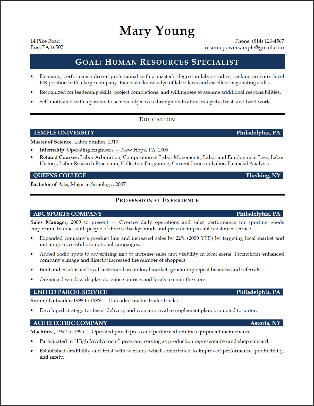 Hr Resume Template Resume Objective Hr Assistant Professional Resume