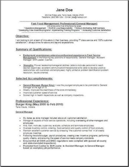 fast food resume sample fast food resume sample template fast food