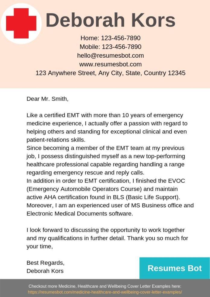 Emergency Medical Technician Emt Cover Letter Samples Templates Pdf Word 2021 Emt Cover Letters Rb