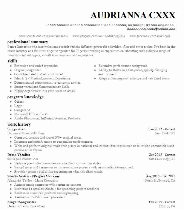 Songwriter Resume Example Company Name Los Angeles California