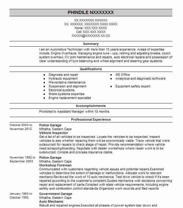 Vehicle Inspector Resume Example Inspector Resumes Livecareer