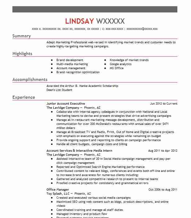 Junior Executive Resume Example Nadra Carrollton Texas