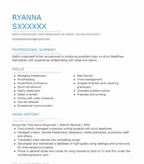 Songwriter Resume Example Company Name Valley Village California