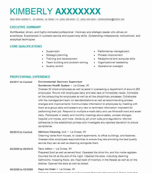 Environmental Services Supervisor Resume Example Livecareer