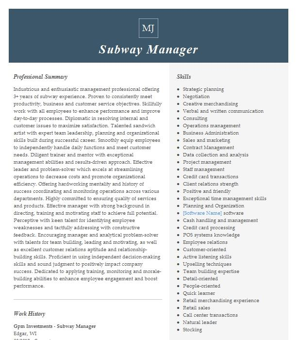 Subway Manager Resume Example Company Name Houston Texas