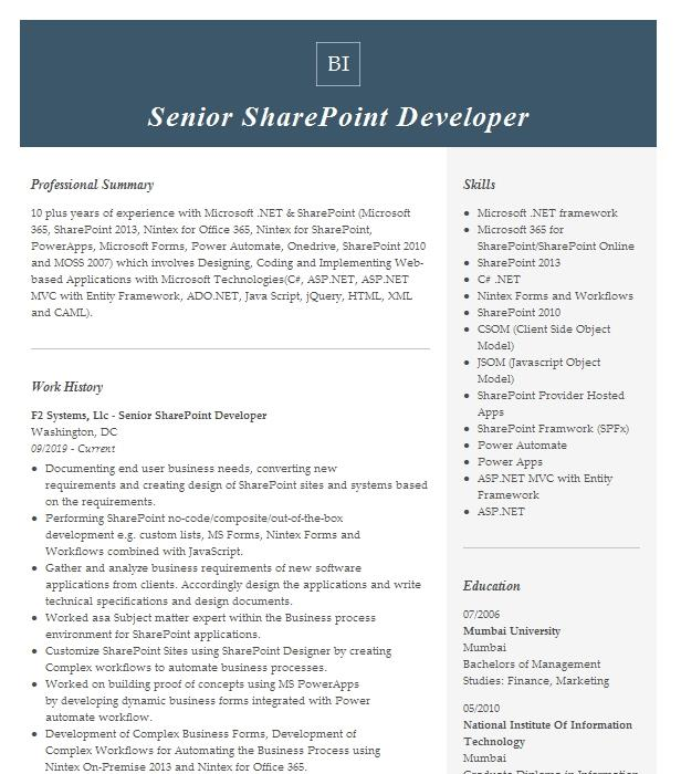 Senior Sharepoint Developer Resume Example Company Name Wylie Texas