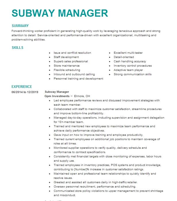 Subway Store Manager Resume Example Company Name Spring Valley California
