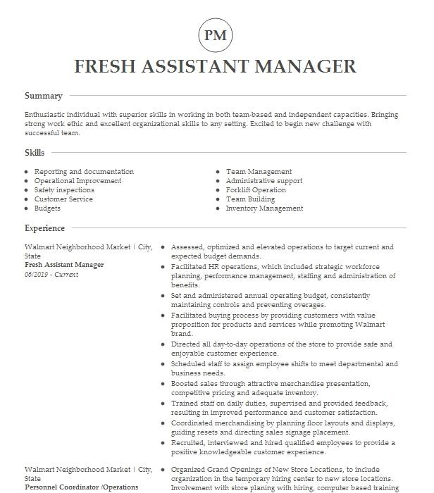 Fresh Area Assistant Manager Resume Example Company Name Williamsburg Virginia