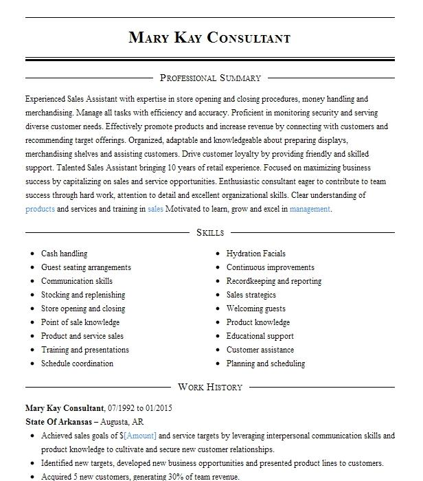 Mary Kay Sales Director Resume Example Willow Street