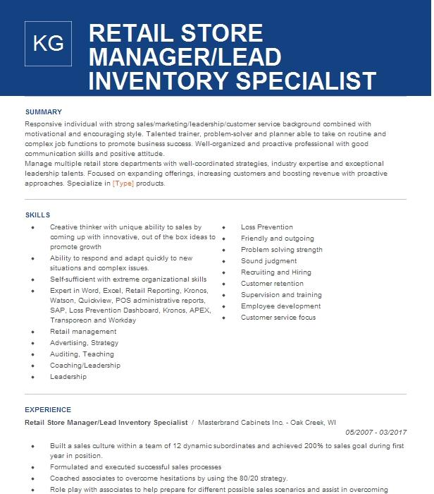 Retail Accounting Inventory Manager Resume Example Genesco