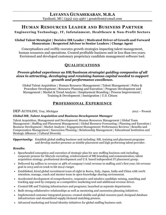 Human Resource Resume Entry Level Sample. Human Resources