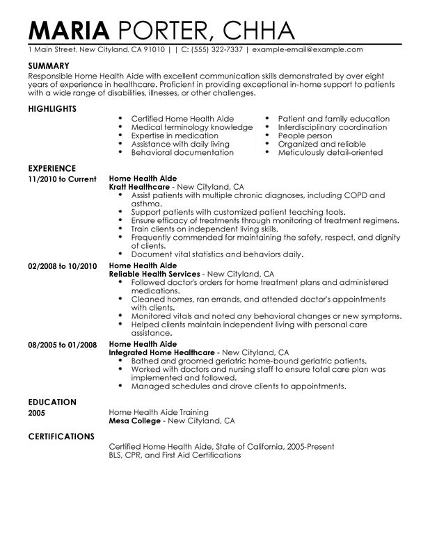 Resume Examples Home Health Aide Resume Templates