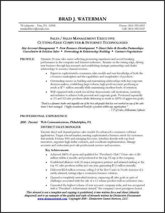 Resume Examples Sales Manager Resume Templates