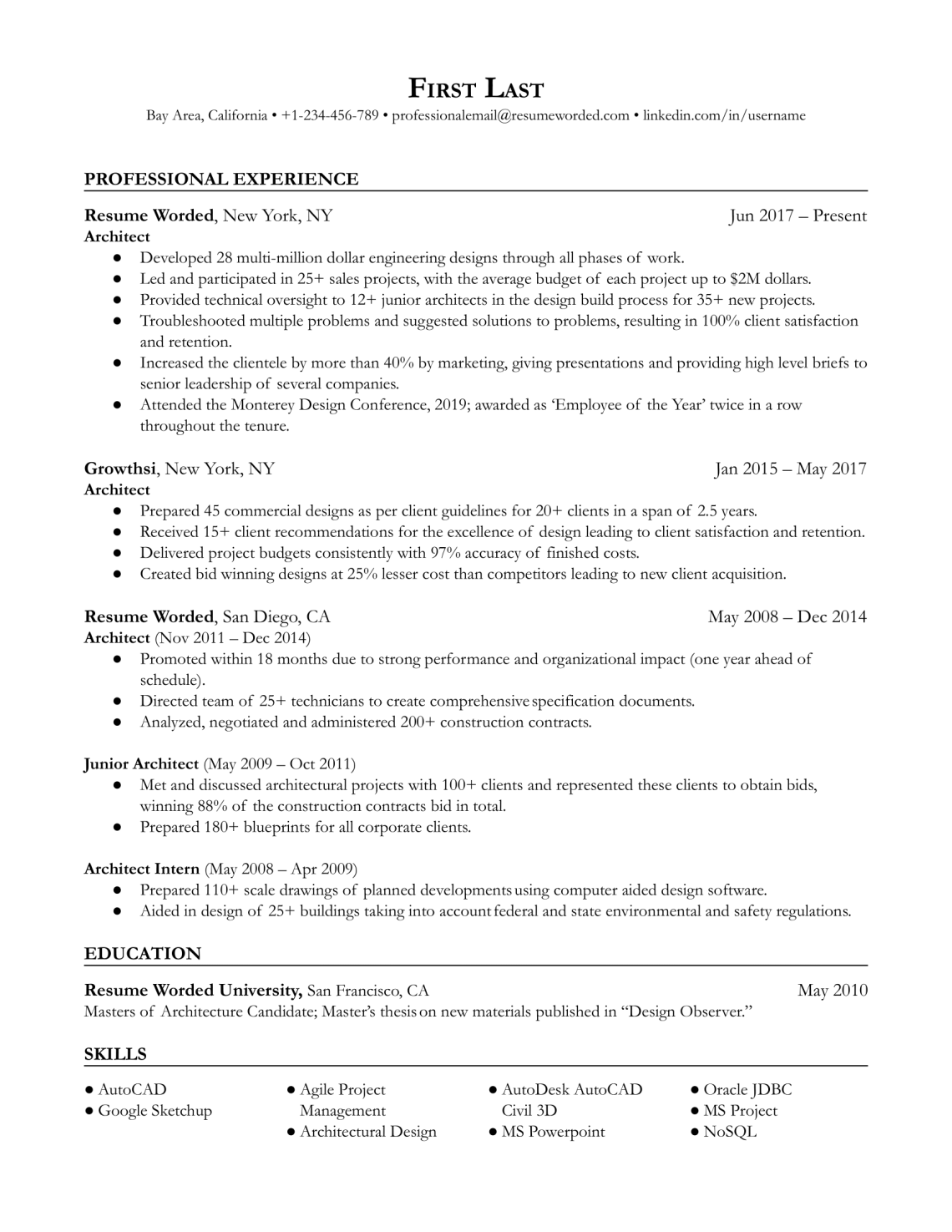 Architect Architecture Resume Example For 2021 Resume Worded Resume Worded