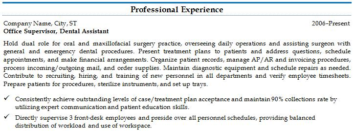 an example of a chronological resume s professional experience section