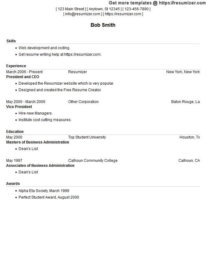 compact resume example style 13