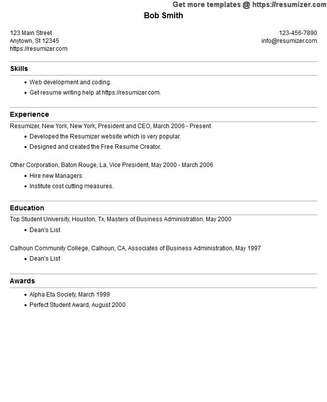 resume example style 4