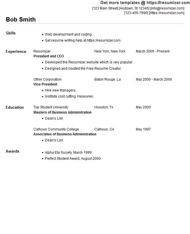 free resume example style 5