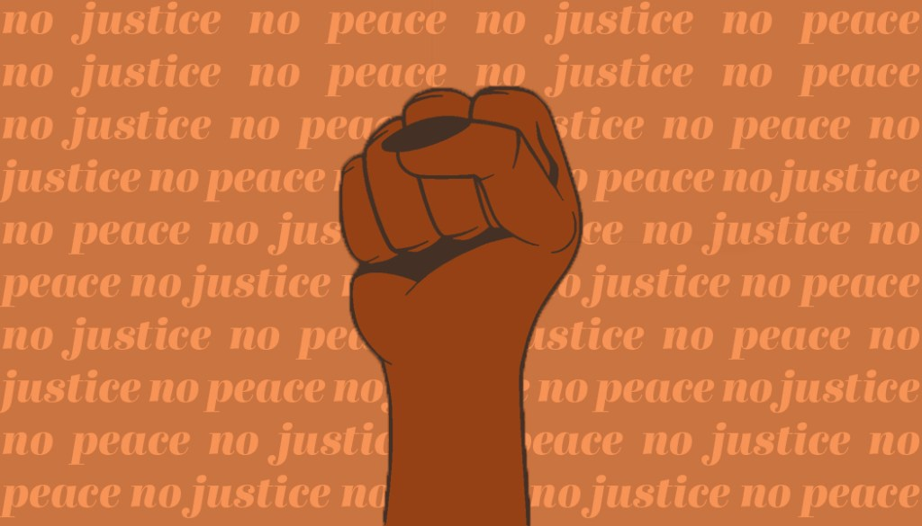 "In support of Black Lives Matter, the traditional Resurget logo is replaced by a single fist on an orange background that says ""no justice no peace"" repeatedly."