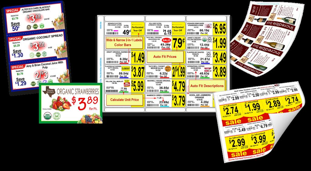 Make professional supermarket signs & gondola shelf labels with DESIGN-R-LABELS.