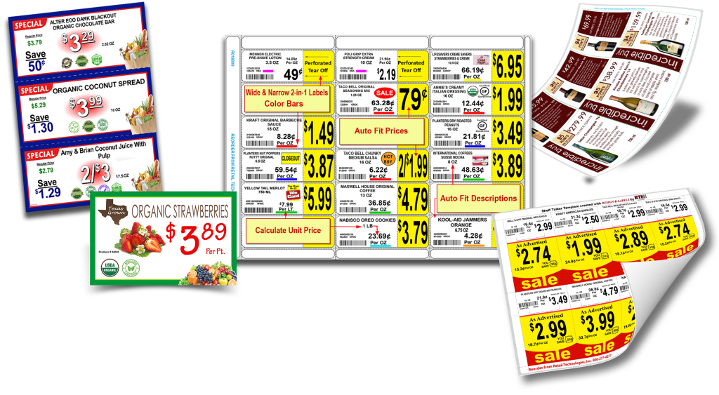 Make professional supermarket signs & gondola shelf labels with DESIGN-R-LABELS.