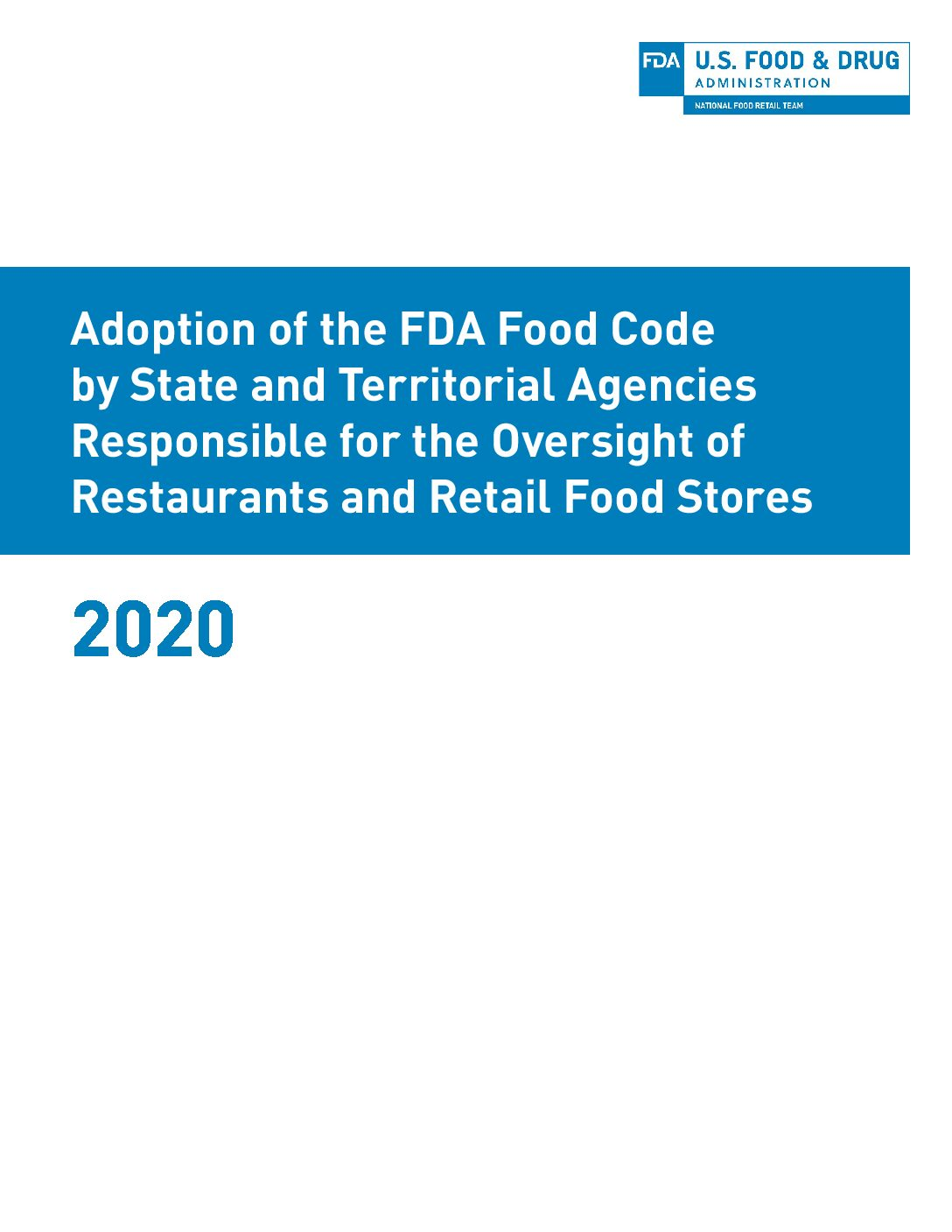 Image of front page of the 2019 Annual Food Code Adoption Report