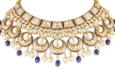 Bridal neckpiece exqusitely crafted in 22K gold with pastel meenakari along with colorful beads