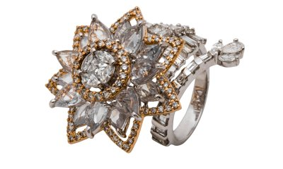 Floral Inspired ring crafted in 18K gold with fine cut diamonds