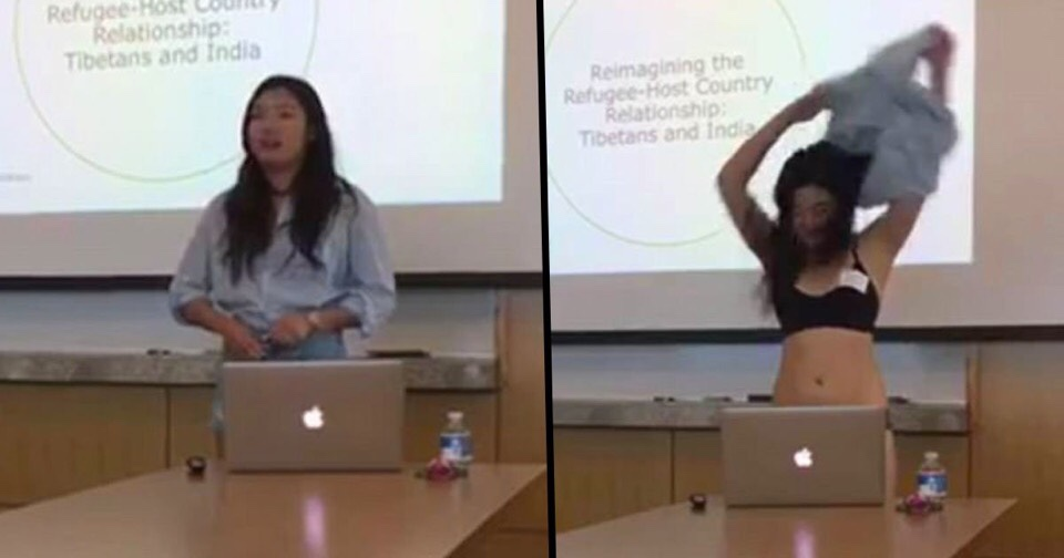 Student Takes off Her Clothes in the Middle of Presentation After Professor Questions Her Shorts