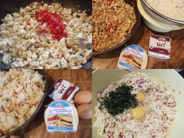 Chiftele de orez cu piept de pui și cașcaval
