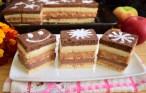 Prăjitura Trio cu mere și cremă în două culori