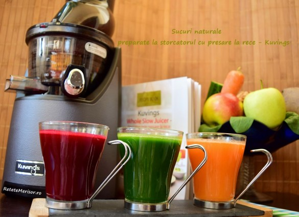 Sucuri naturale din fructe și legume la storcătorul Kuvings