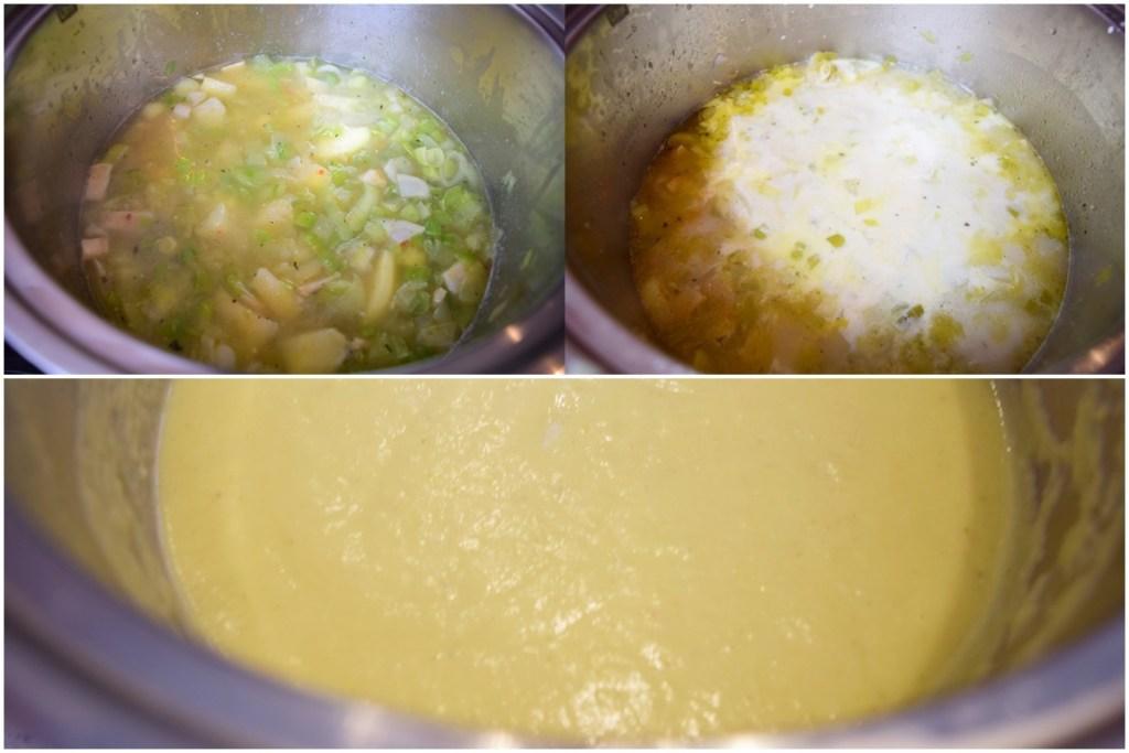 Preparare supă cremă de praz cu cartofi și usturoi