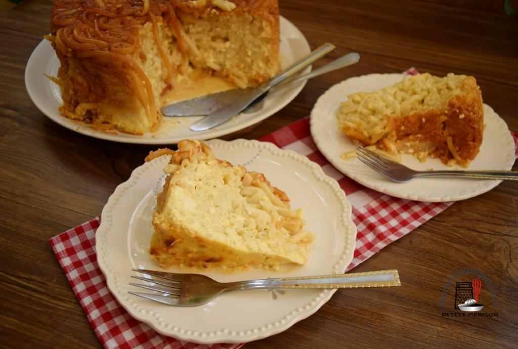 Macaroane cu brânză și zahăr caramelizat, porționate