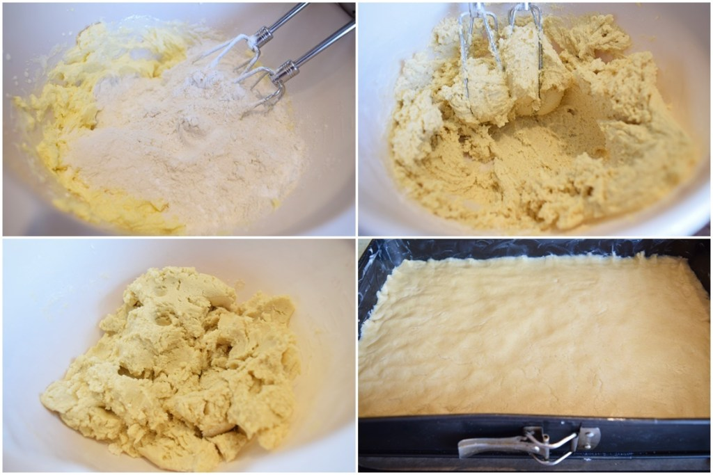 Colaj de poze cu pașii de preparare aluat pentru Prăjitură cu mere și bezea cu nucă