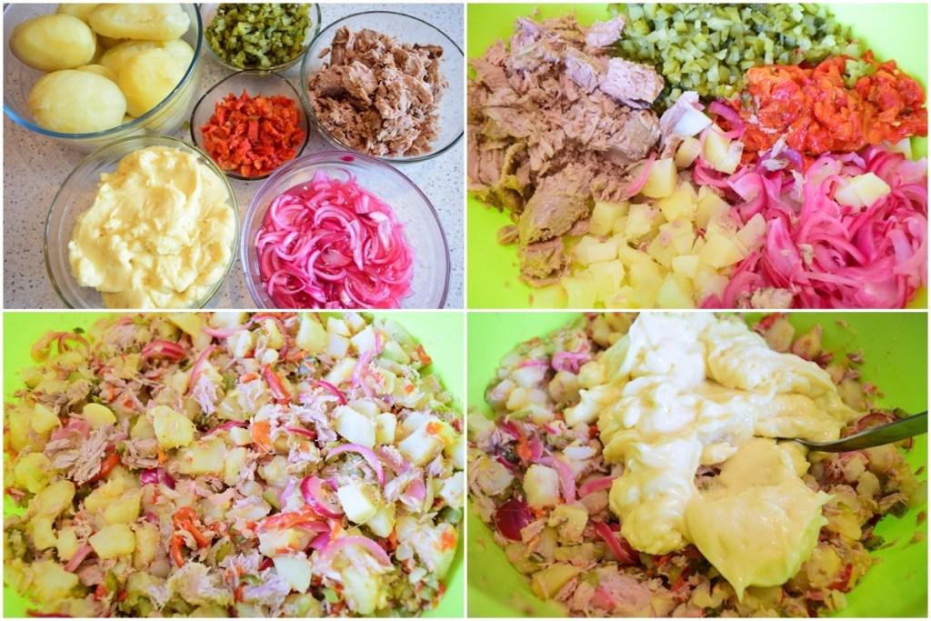 Colaj de poze cu pașii de pregătire a ingredientelor pentru Salată de cartofi cu ton file și ceapă roșie marinată, castraveciori acri, ardei copți și maioneză
