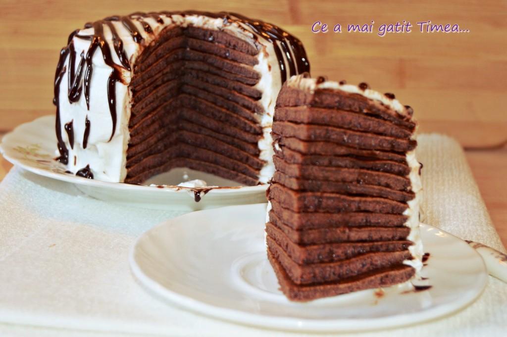tort de clatite cu ciocolata